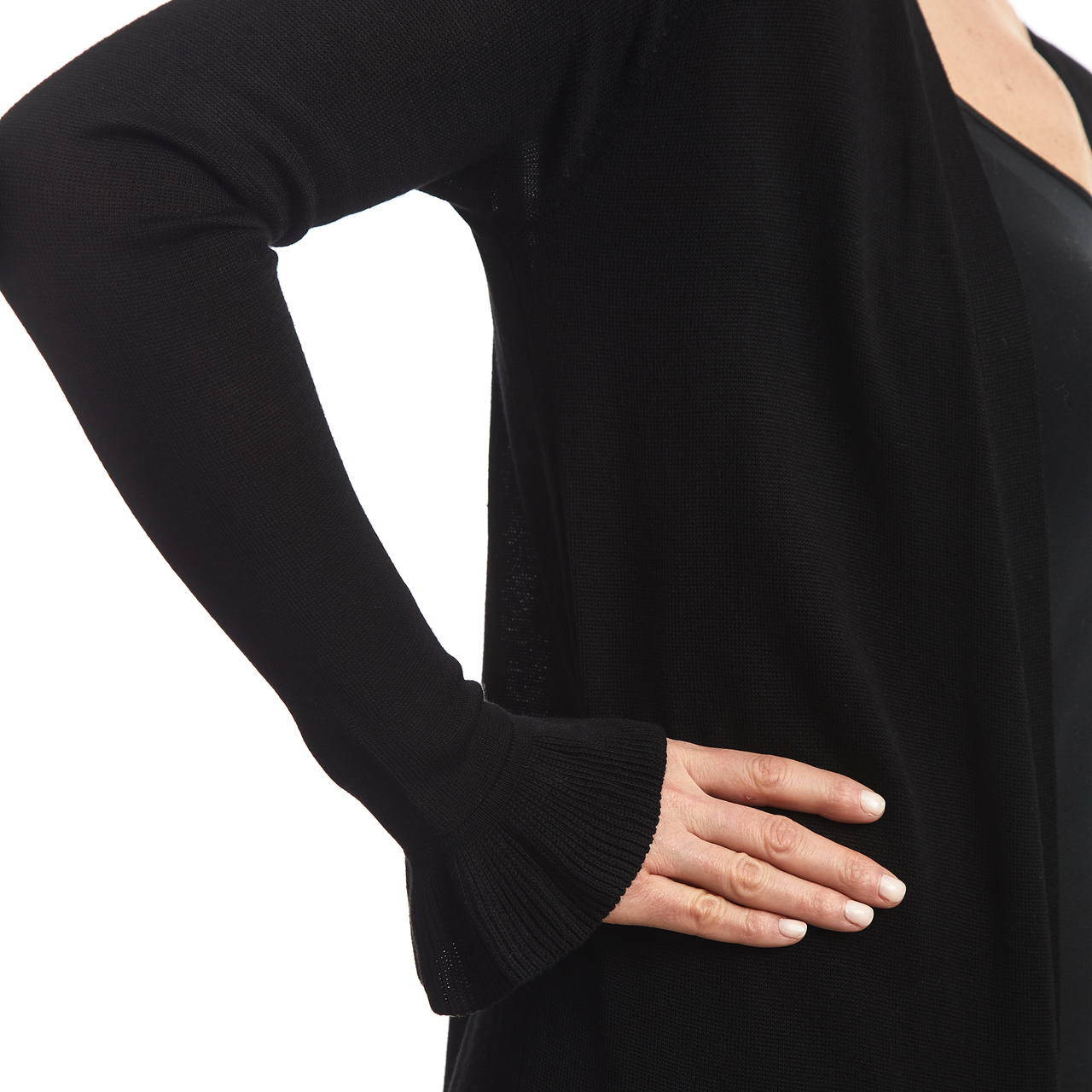 Duster Cardigan with Ruffle Cuff in Black