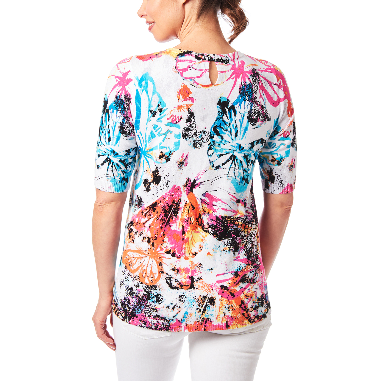 Aline Sweater With Keyhole Back In Butterfly Print