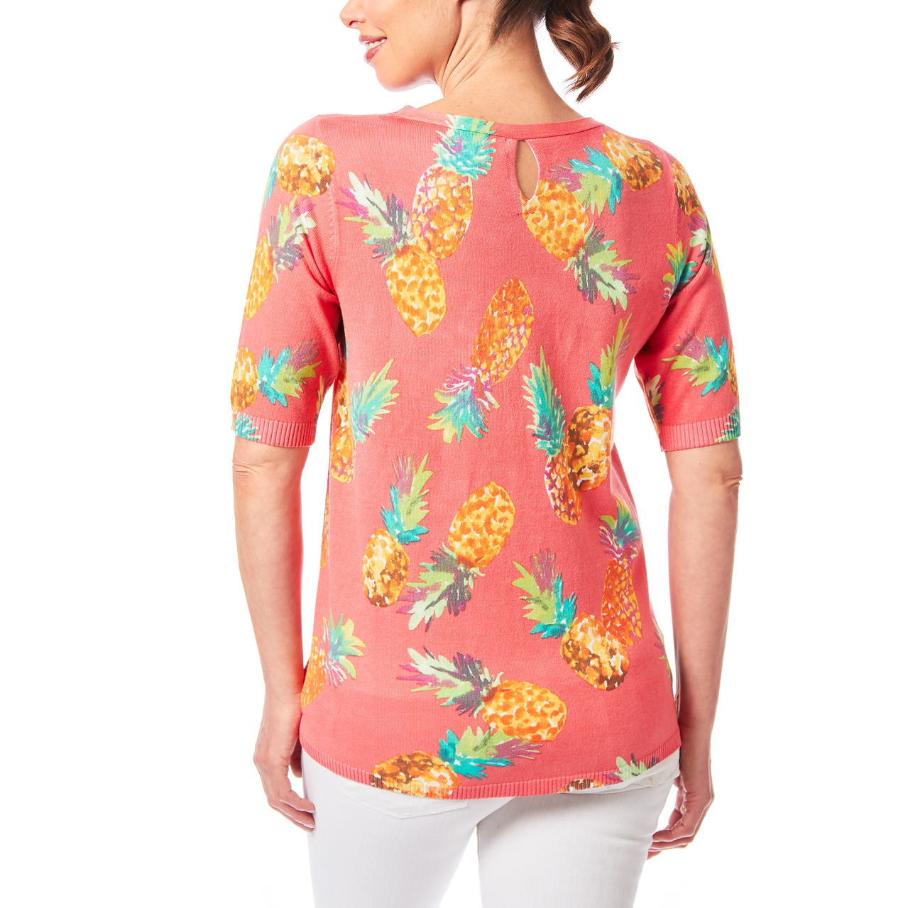 Aline Sweater With Keyhole Back In Pineapple Print
