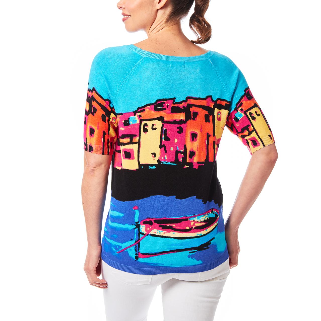 Scallop Trim Sweater In Scenic Print