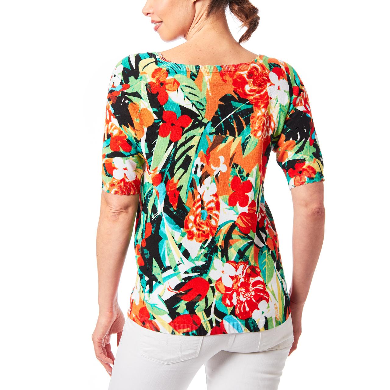 Scallop Trim Sweater In Tropical Print