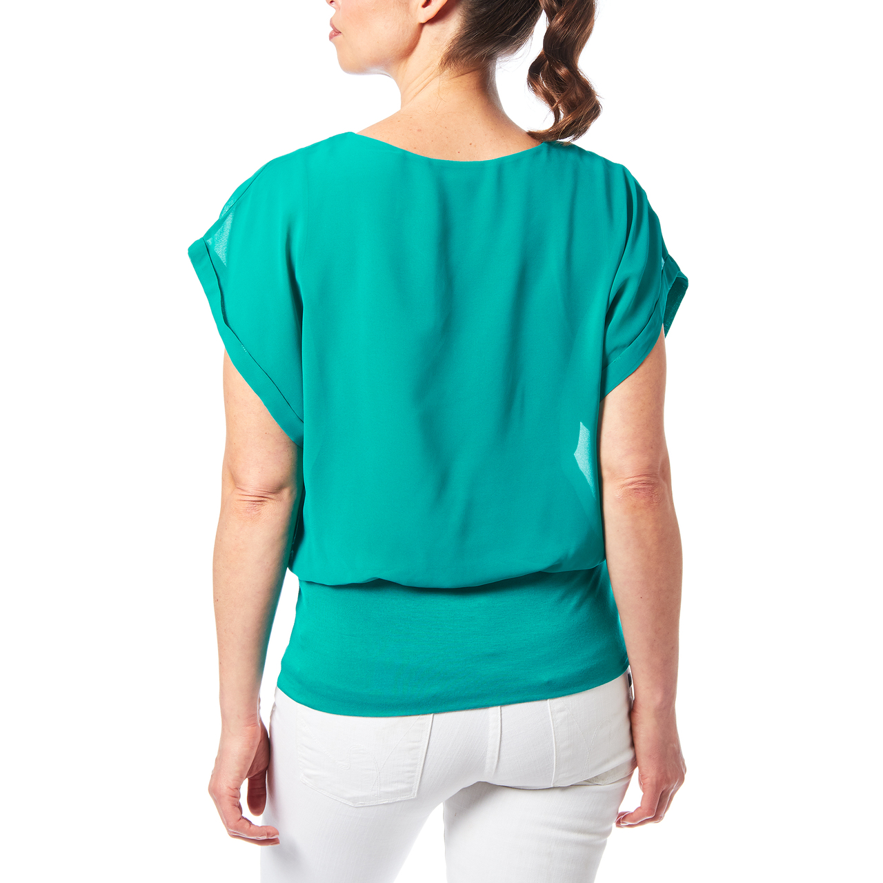Dolman Sleeve Chiffon Top With Knit Banded Bottom In Teal Green
