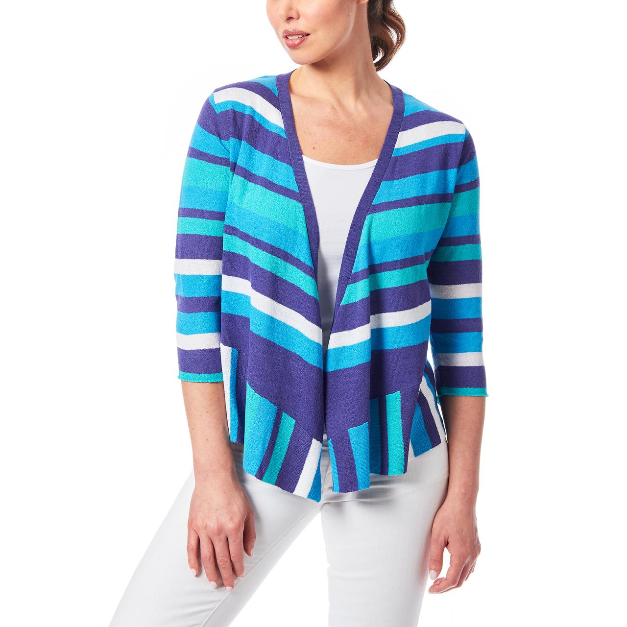 Textured Drape Front Cardigan In Blue Stripe