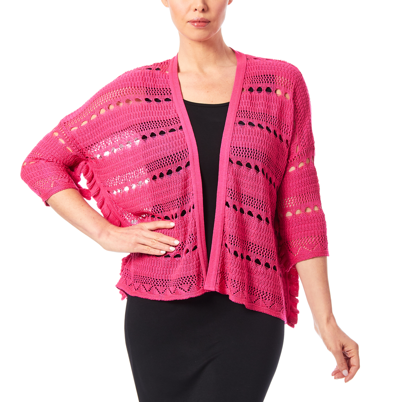 Open Stitch Dolman Cardigan With Ruffle Sleeves In Bright Pink