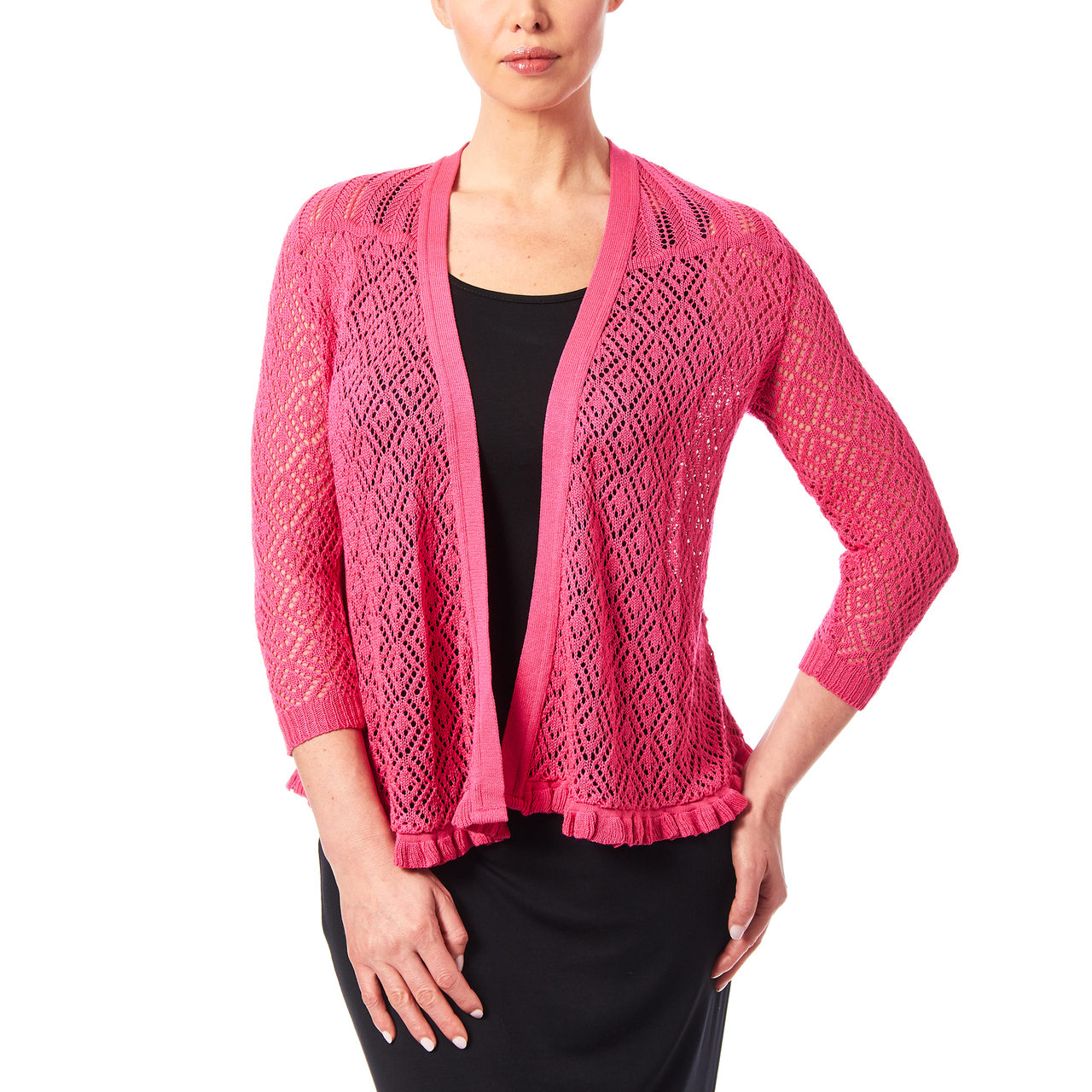 Open Stitch Cardigan with Ruffle Hem In Bright Pink