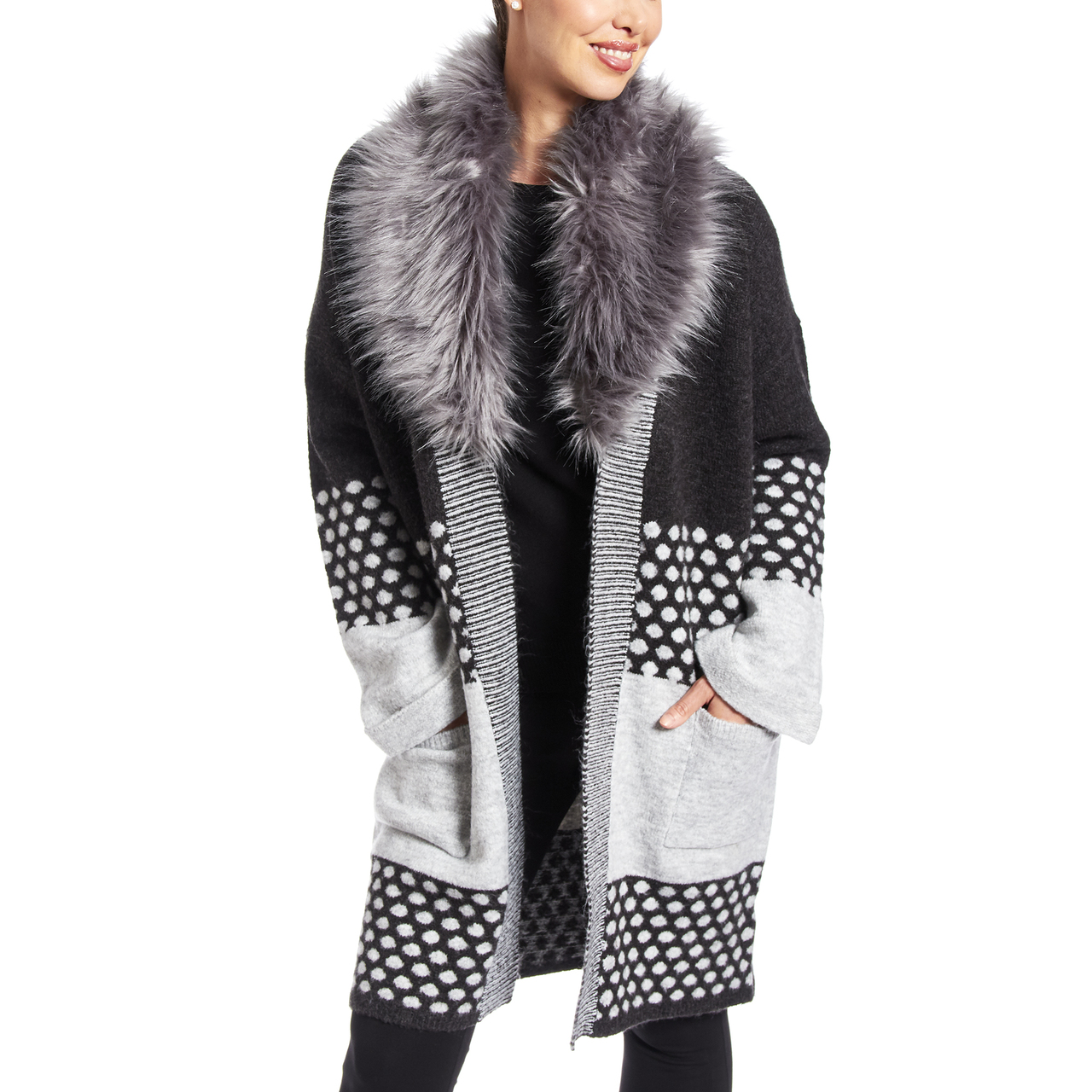Removable Faux Fur Collar Coatigan in Charcoal Grey Combo