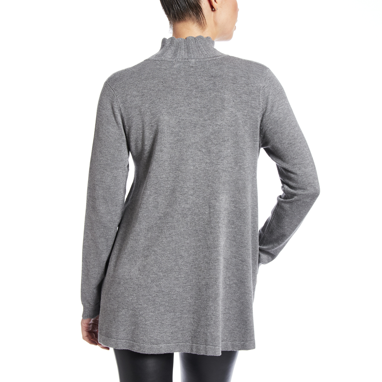 Pointelle Tunic In Heather Grey