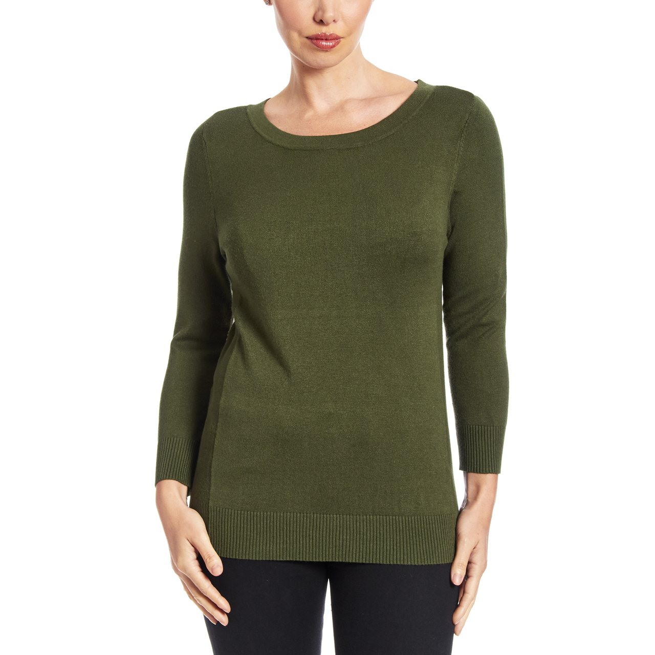 Boat Neck Sweater With Side Rib Detail In Olive