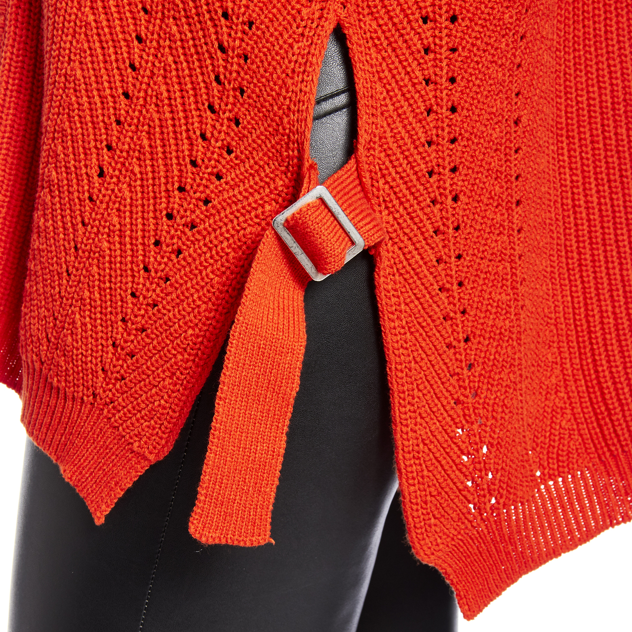 Mixed Stitch Vneck Sweater With Side Buckles in Orange
