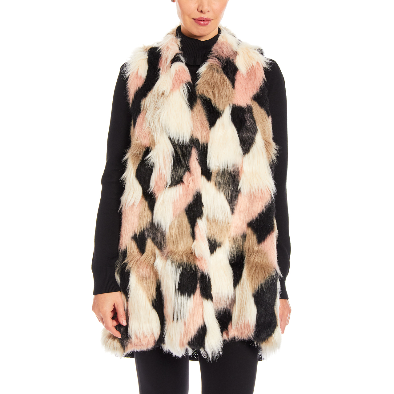 Faux Fur Vest With Knit Back in Pink Multi