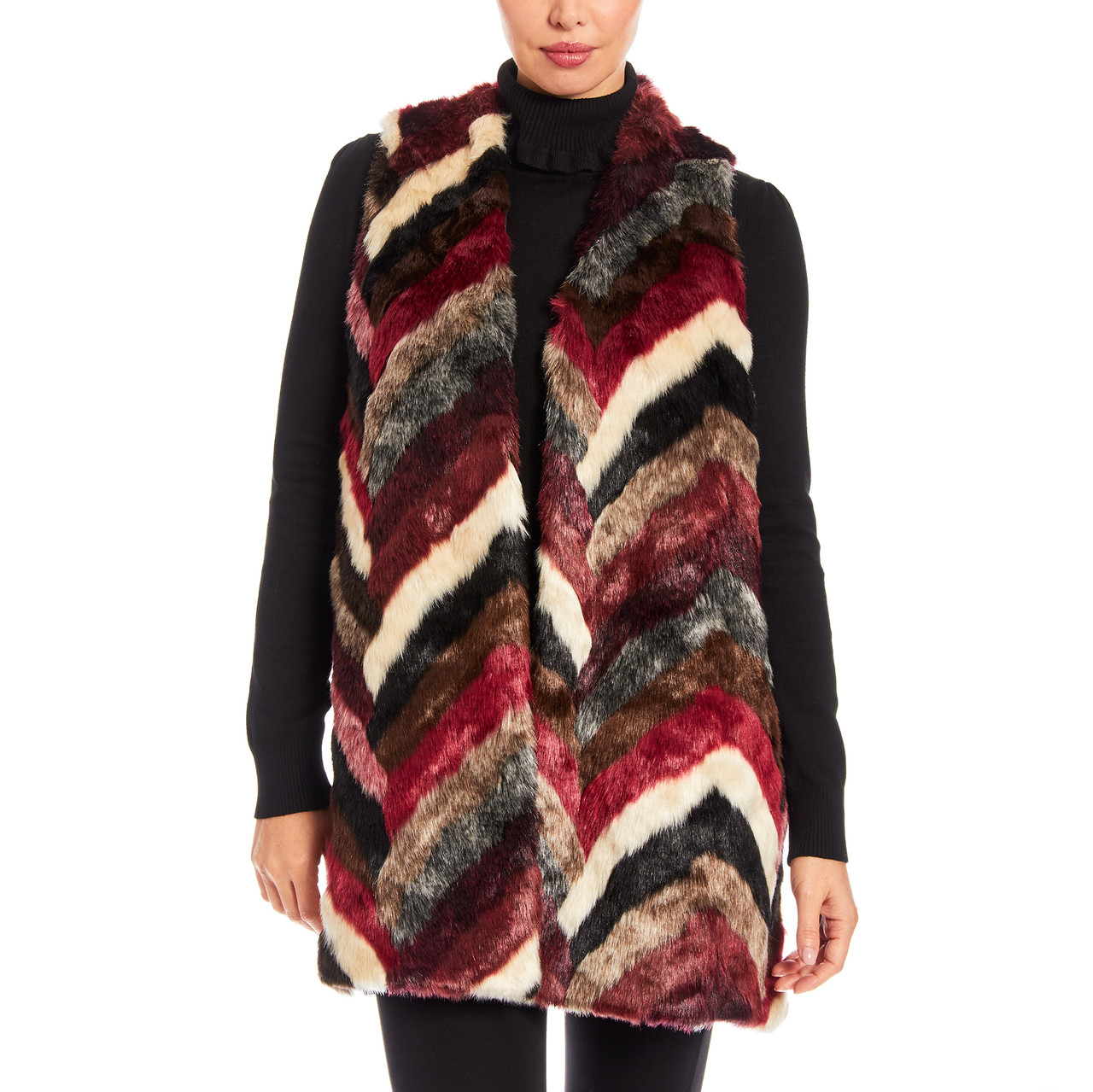 Faux Fur Vest With Knit Back in Wine Combo