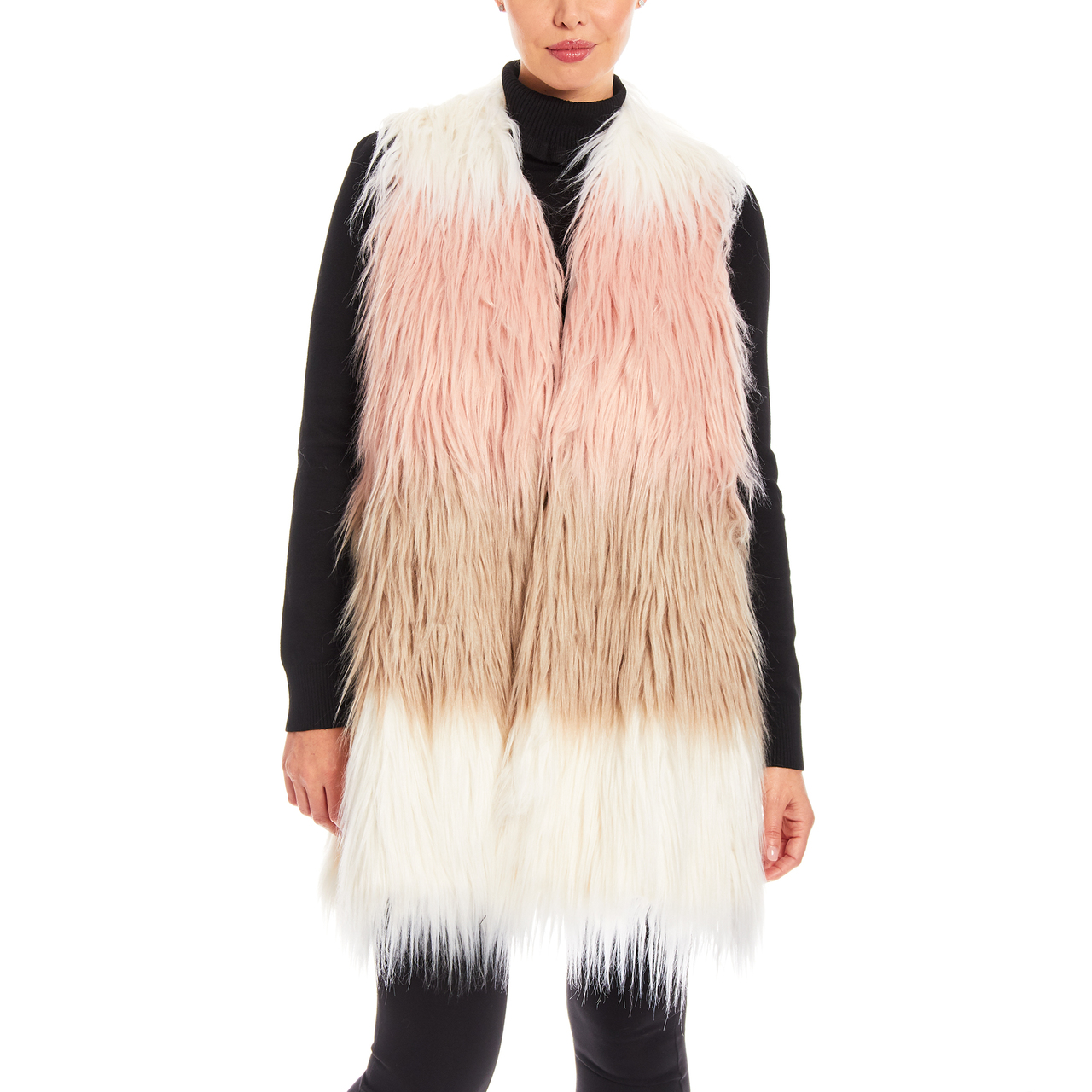 Faux Fur Vest With Knit Back in Ombre Combo