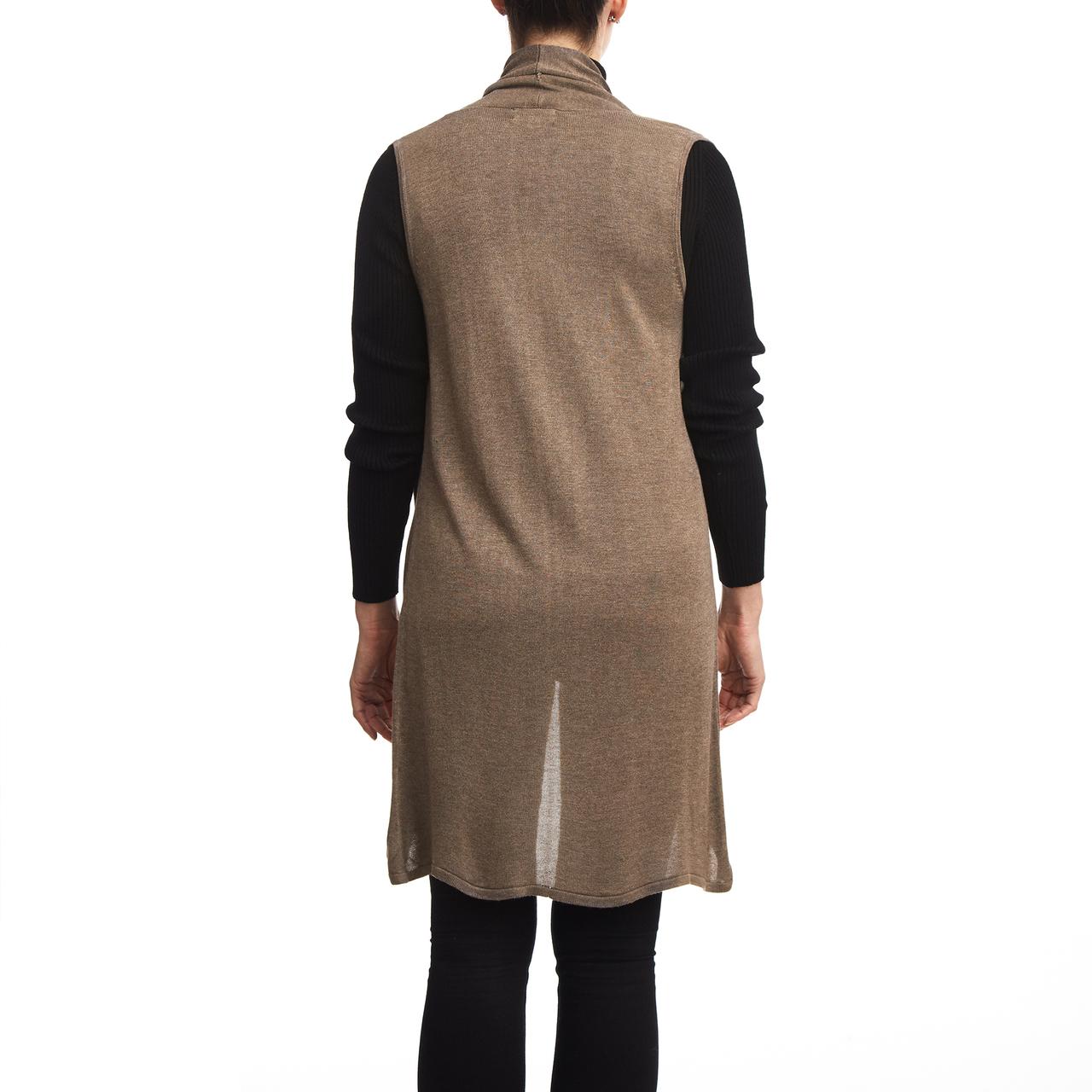Open Sleeveless Vest In Mocha Heather