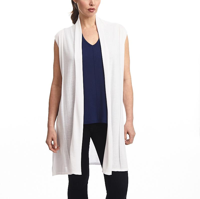 Open Sleeveless Vest In White