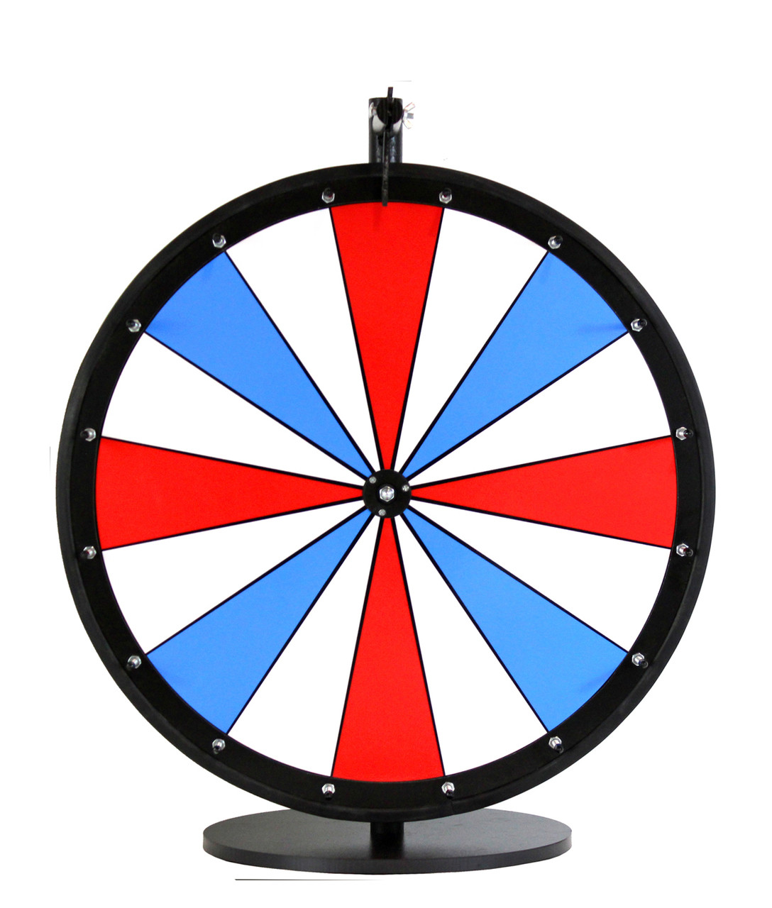24 inch red white and blue color dry erase wheel spinning designs