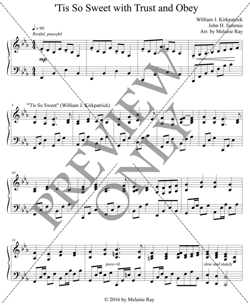 Piano Solo: 'Tis So Sweet with Trust and Obey