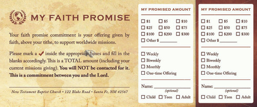 Faith Promise Commitment Card - Perforated (D)