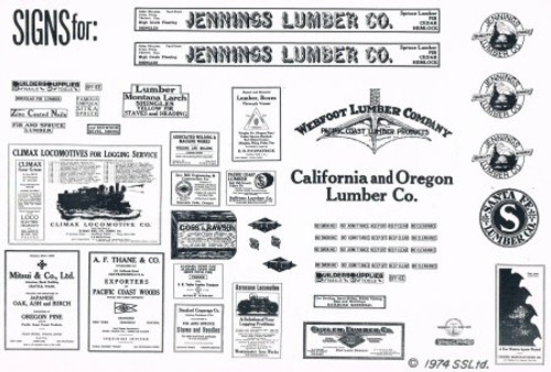 55+ Assorted Lumber Company Signs in Black & White