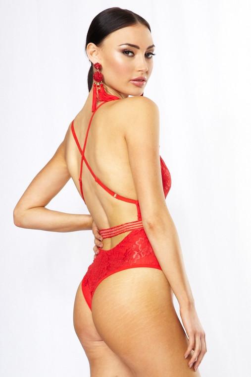 Red Eyelash Lace Bodysuit