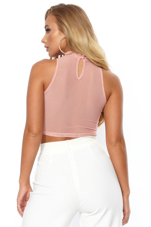 Dusty Pink Sleeveless Turtle Neck Mesh Crop Top