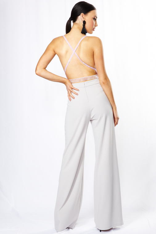 Grey High Waist Wide Leg Trouser