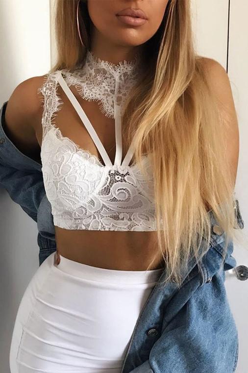White Lace Choker Bralet