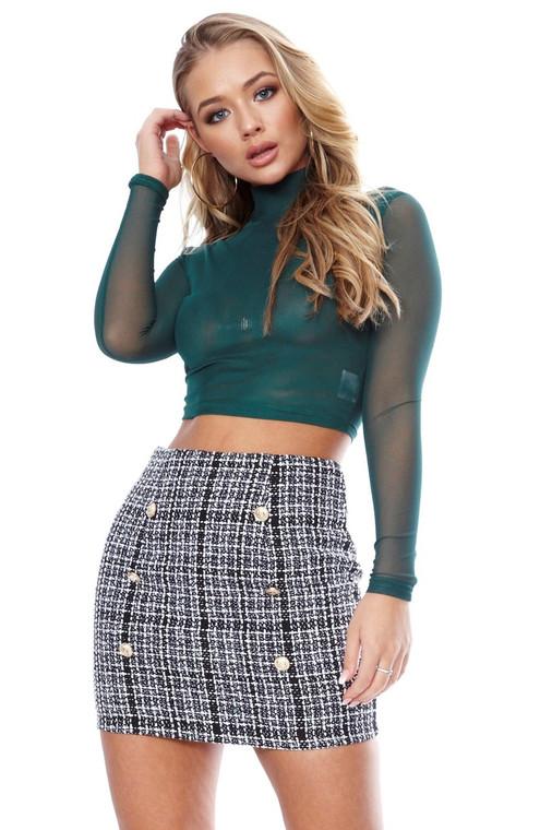 Tweed Button Skirt