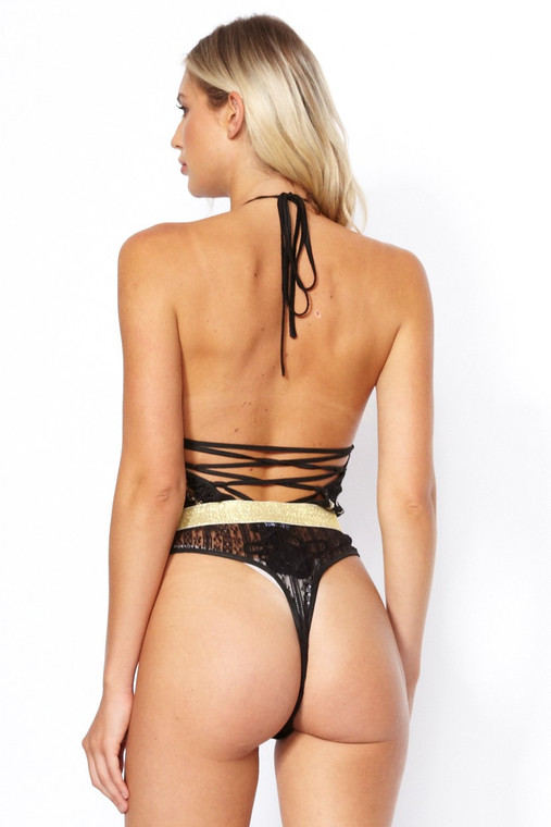 Black Halter Sequin Bodysuit