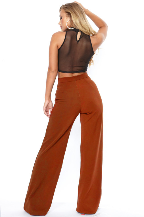 Rust High Waist Wide Leg Trouser