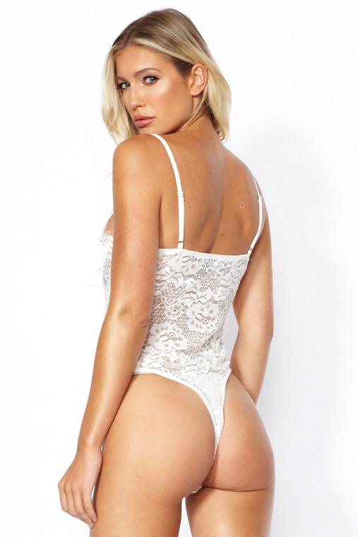 White Satin Lace Bodysuit