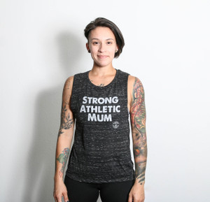 """That top says, """"Strong Athletic Mum"""". This flowy Bella and Canvas muscle tank is perfect for mums who work out, they want their daughters and sons to grow up playing sports and they are unstoppable. It's also perfect for wearing fancy sports bras and showing off strong arm muscles!"""