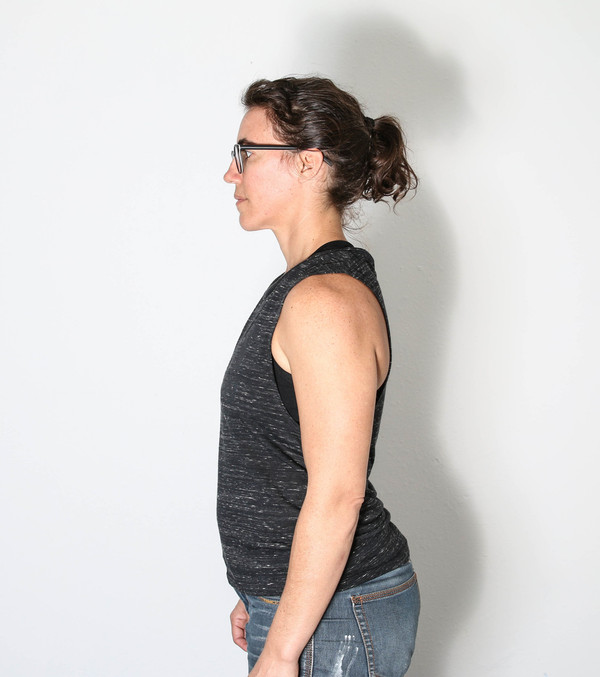 This is the side view of the OUTSpoken muscle tank printed by Strong Athletic.