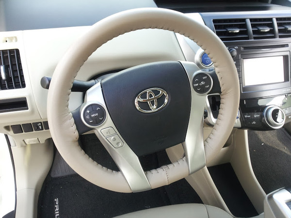 Wheelskins Eurotone Two-Color Genuine Leather Steering Wheel Cover for 2012-2015 Toyota Prius Plug-in
