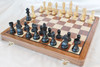 """New Championship Staunton Chess Set with 95mm (3.75"""") King in Antique black, 46cm (18"""") Folding Chess Board/Case"""