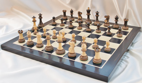 "Grand Master Classic Burnt Staunton Luxury Chess Set with 102mm (4.00"") King, Chess Board & Leather Case"