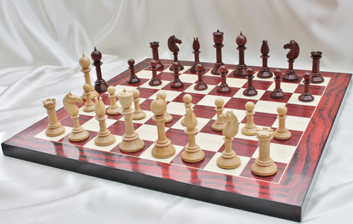 """The Edinburgh Antique Luxury Chess Set with 108mm (4.25"""") King in Red Sandal Wood, Chess Board & Leather Case"""