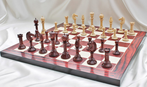 "The Edinburgh Antique Luxury Chess Set with 108mm (4.25"") King in Red Sandal Wood, Chess Board & Leather Case"