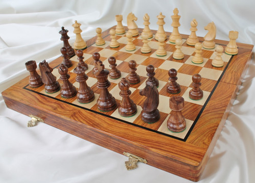 """New Championship Staunton Chess Set with 95mm (3.75"""") King in Golden Rosewood, 46cm (18"""") Folding Chess Board/Case"""
