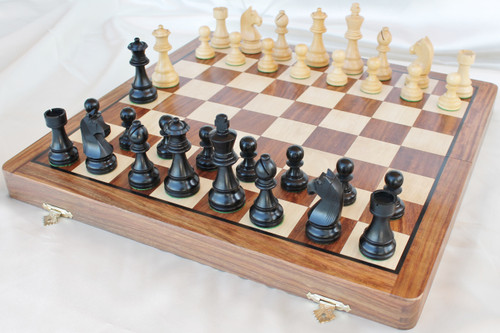 "New Championship Staunton Chess Set with 95mm (3.75"") King in Antique black, 46cm (18"") Folding Chess Board/Case"
