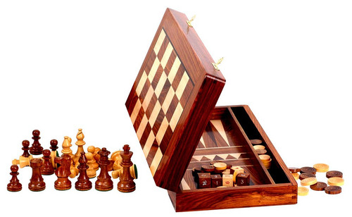 "Backgammon, Checkers and Chess Set with 89mm (3.50"") King, 46cm (18"") Chess Board/Backgammon Case"
