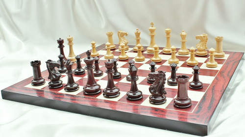 """The Camelot Royal Knight Chess Pieces Set in Red Sandal Wood with 102mm (4.00"""") King"""