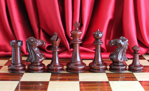 "The Camelot Royal Knight Chess Pieces Set in Red Sandal Wood with 102mm (4.00"") King"