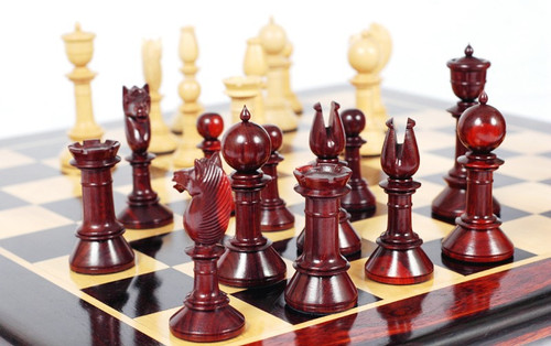 """The Edinburgh Antique Luxury Chess Pieces Set with 108mm (4.25"""") King in Red Sandal Wood"""