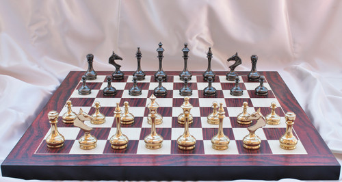"""New Sleek and Modern Solid Brass Luxury Chess Set with 95mm (3.75"""") King Includes Chess Board"""
