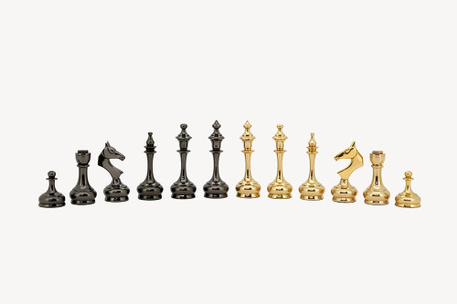 "New Sleek Ultra Modern Brass Luxury Chess Pieces Set with 95mm (3.75"") King"