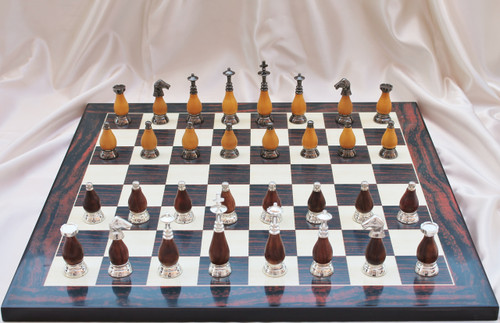 "Casablanca Classic Brass & Wood Modern Chess Set with 89mm (3.5"") King includes Chess Board"
