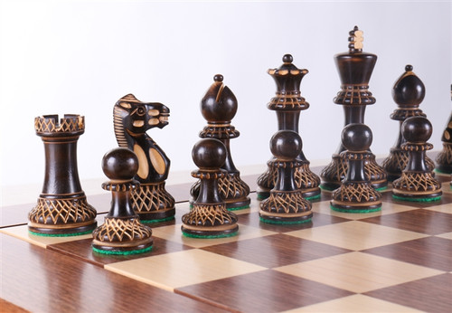 "New Burnt Grand Master Classic Staunton Luxury Chess Pieces Set with 102mm (4.00"") King"