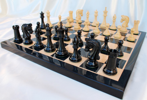 """Sir Lancelot du Lac Staunton Chess Pieces Set with 108mm (4.25"""") King in Ebony"""
