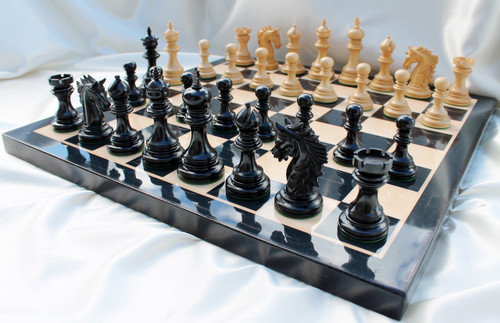 """The Centurion Knight Staunton Chess Pieces Set with 114mm (4.5"""") King in Ebony"""