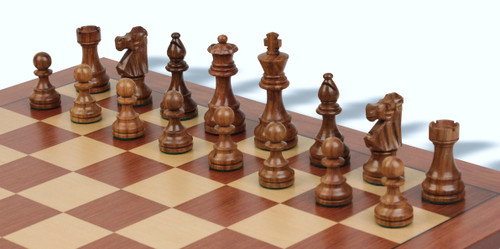 """French Lardy Tournament Staunton Chess Pieces Set with 95mm (3.75"""") King in Golden Rosewood"""